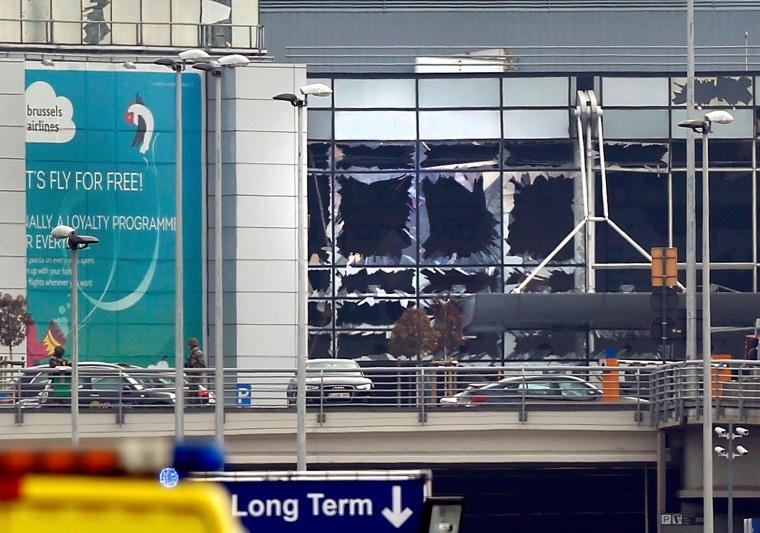Image: Broken windows seen at the scene of explosions