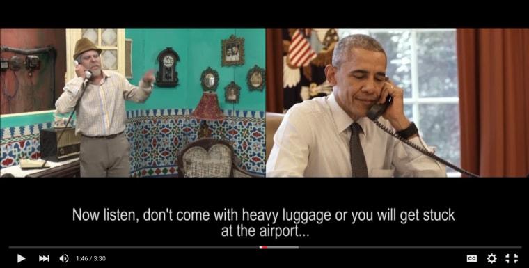 President Barack Obama talks with Cuban humorist Pánfilo during a TV show.