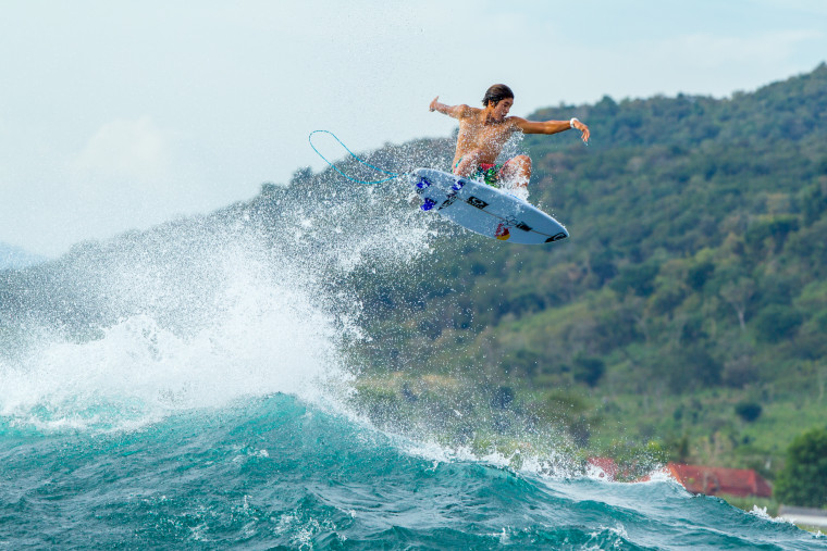 18-year-old Kanoa Igarashi is currently competing in the World Surf League's Men's Championship Tour.
