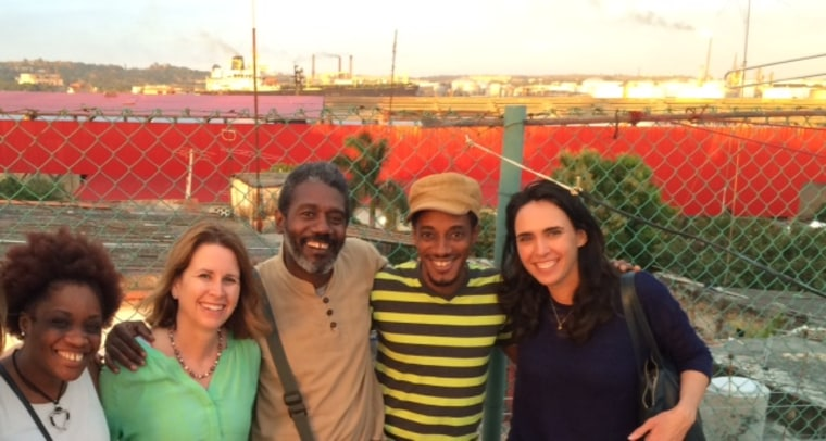 Bibi Hidalgo, who is Cuban American, with among others Cuban Professor Roberto Zurbano and lead singers of the hip-hop group Grupo Obsesion, in Havana, Cuba, February 2016.