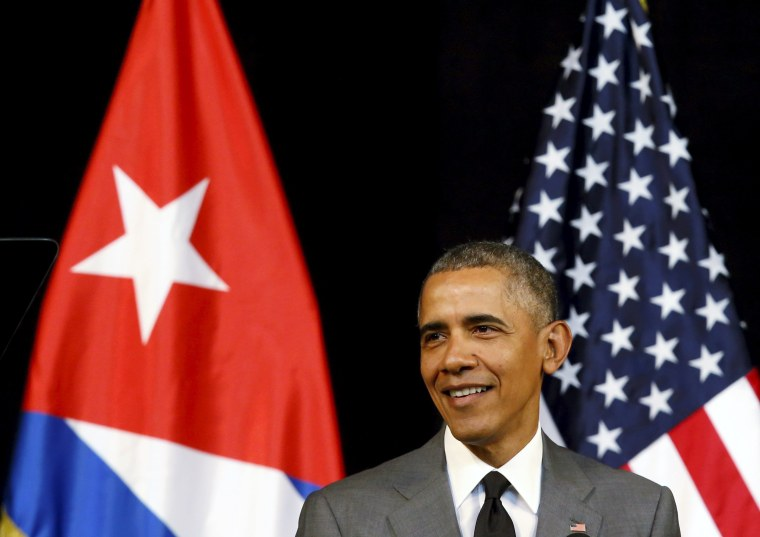 Image: U.S. President Barack Obama makes a speech to the Cuban people in the Gran Teatro de la Habana Alicia Alonso in Havana