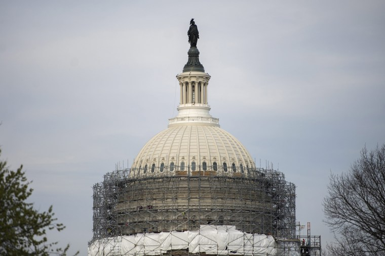 Image: Scaffolding is removed on the US Capitol dome after restoration