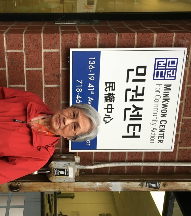 84-year-old Young Ok Yi outside of the MinKwon Center for Community Action, which helped her get back her rent assistance after her husband died.