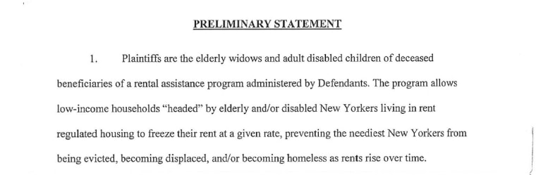 An excerpt of court documents detailing the complaints of widows and disabled adults against New York City.