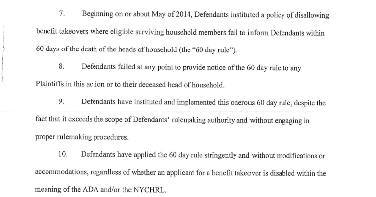 An excerpt of court documents detailing the actions of New York City.