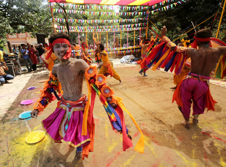 Image: Villagers celebrate holi