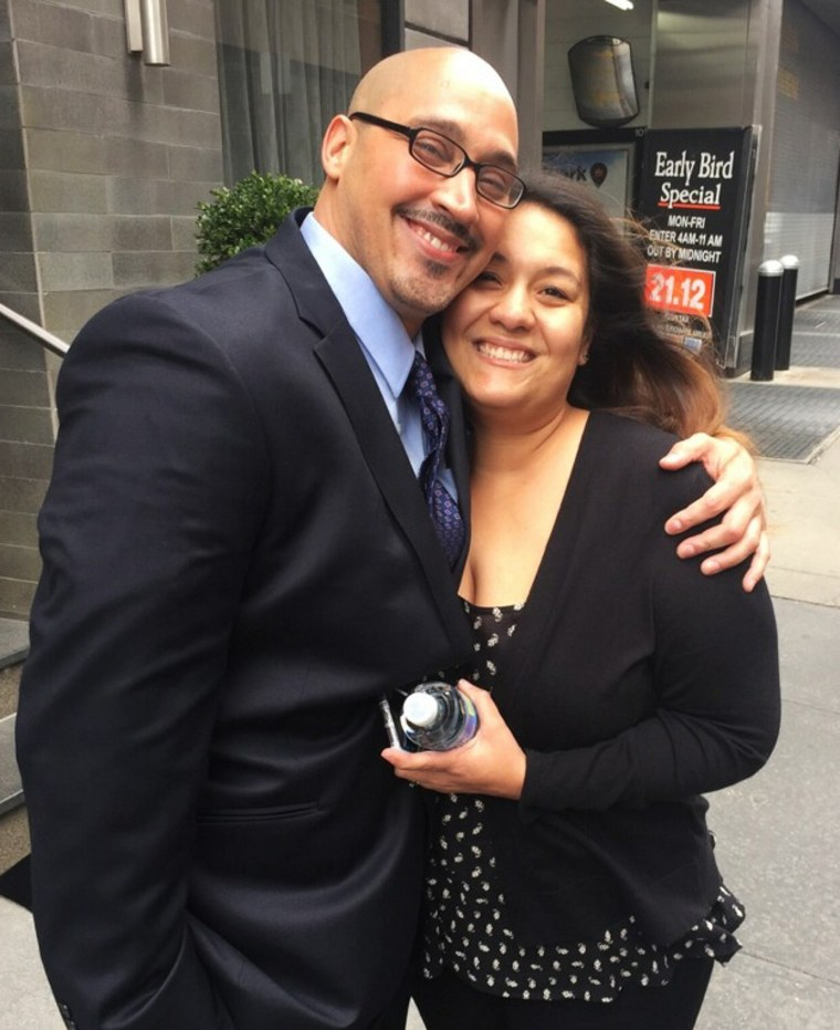 Rosario and his wife Minerva after Rosario's release Wednesday.