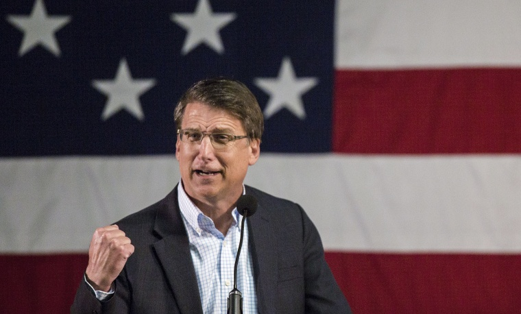 North Carolina Gov. Pat McCrory speaks at the State Fairgrounds in Raleigh on March 8.