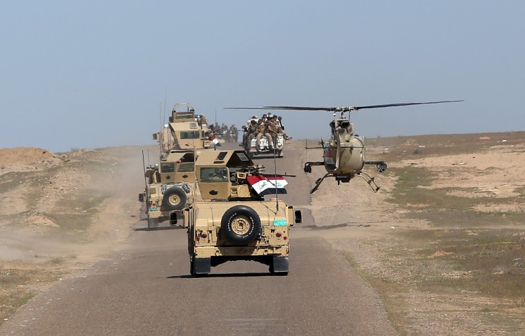 Image: Iraqi forces are trying to clear ISIS fights from areas of northern Iraq, as seen in this March 9 photo.