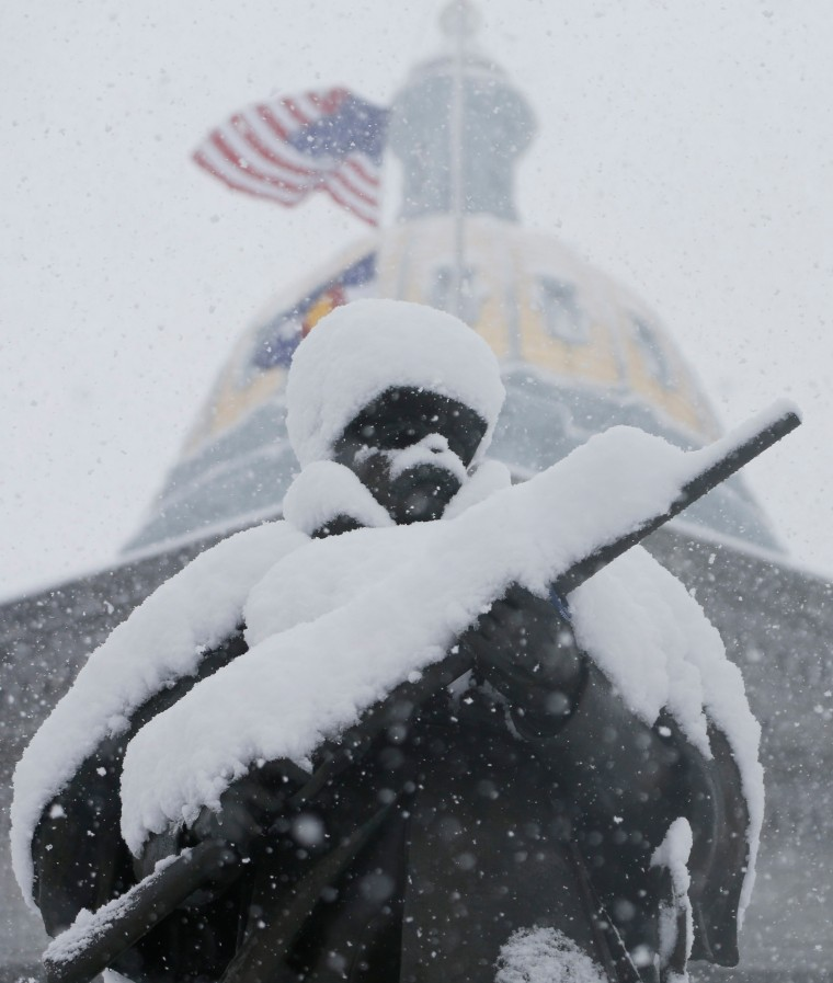 Image: Civil War statue in front of Colorado State Capitol in snow