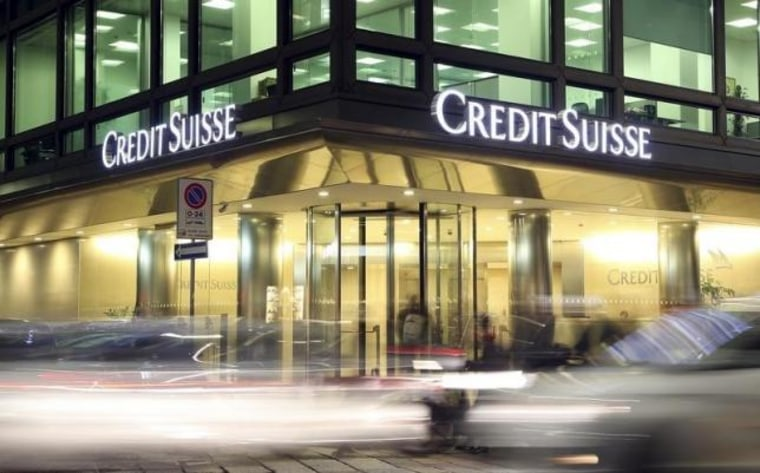 The Credit Suisse logo is seen at the headquarters in downtown Milan