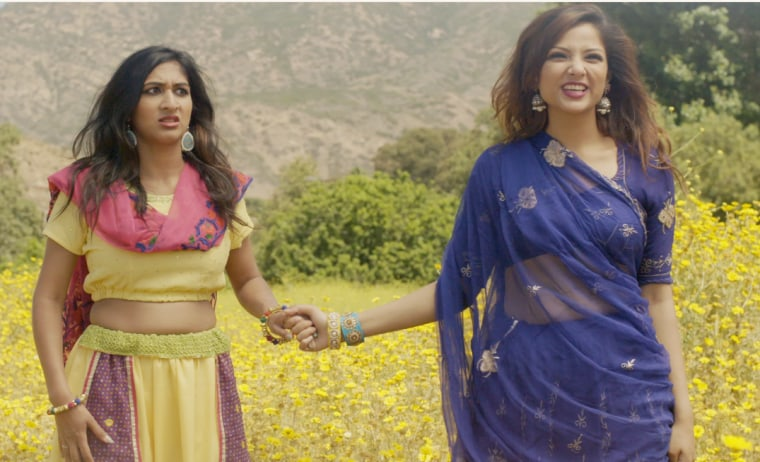 "Sita (Shefali Deshay), an Indian American, and Jisha (Uttera Singh), a new arrival from the motherland, in ""The Fob and I"""