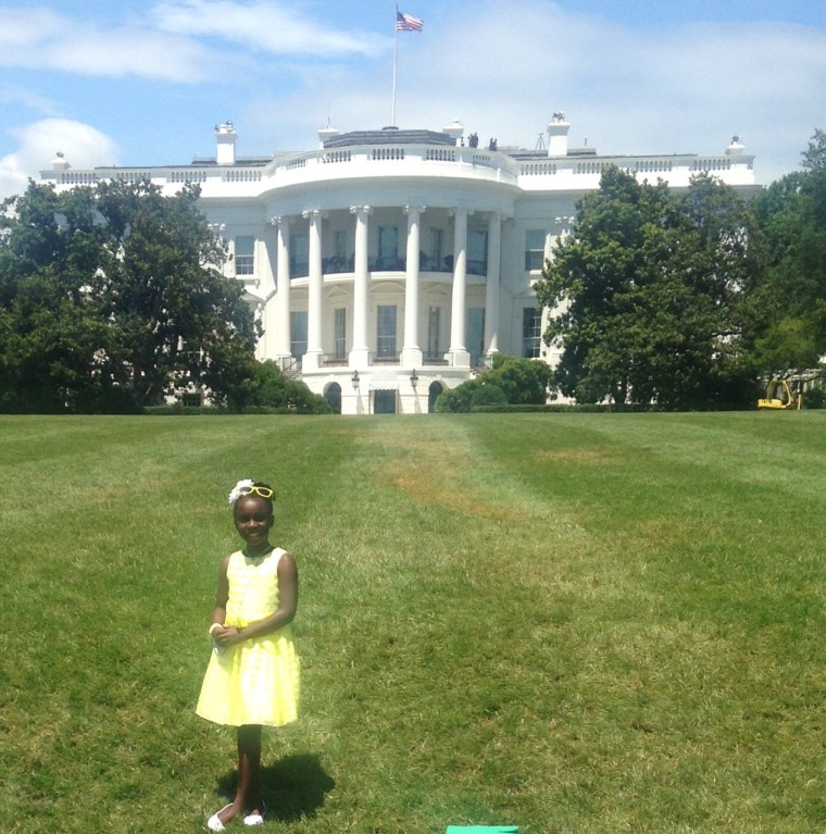 11-year-old Mikaila Ulmer poses in front of the White House. Ulmer met President Barack Obama in 2015 when she attended the White House Kids' State Dinner.
