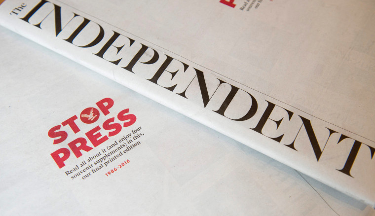 Image: Final print edition of the Independent newspaper, Britain