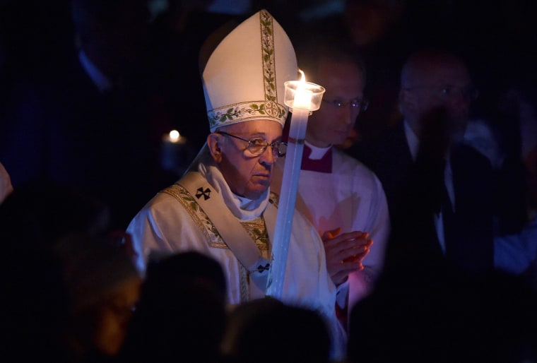 Image: Pope Francis leads Easter Vigil mass
