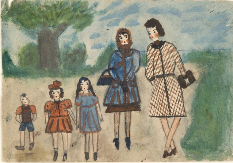 Two Friends — Mother, Governess, and Mother's Three Children, Nelly Toll Collection