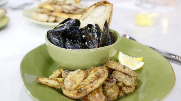 Chef Stuart O'Keeffe makes traditional moules-frites (mussels with fries)
