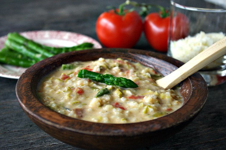 Asparagus Tomato Parmesan Soup by Food Club member Shea Goldstein of Dixie Chik Cooks