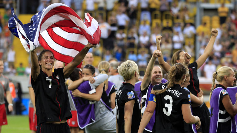 Boxx of the U.S. celebrates with her teamamtes defeating Brazil after penalty shootout during their Women's World Cup quarter-final soccer match in Dresden