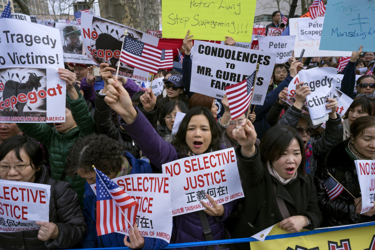 Image: Protesters attend a rally in the Brooklyn borough of New York Saturday, Feb. 20, 2016, in support of a former NYPD police officer Peter Liang
