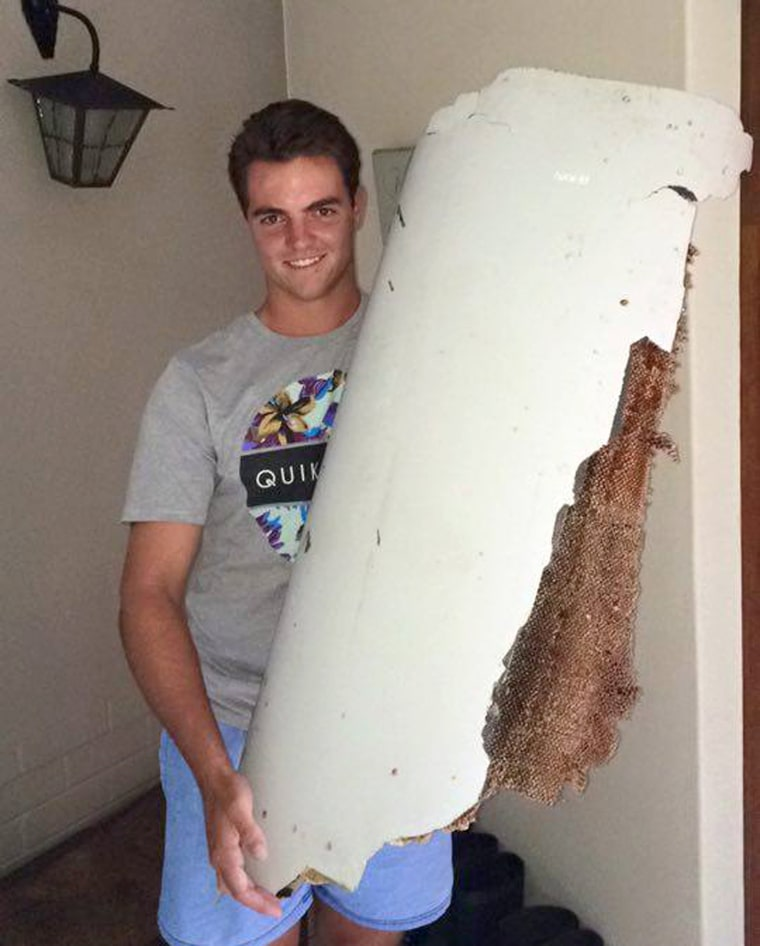 Image: Liam Lötter holds the object he found