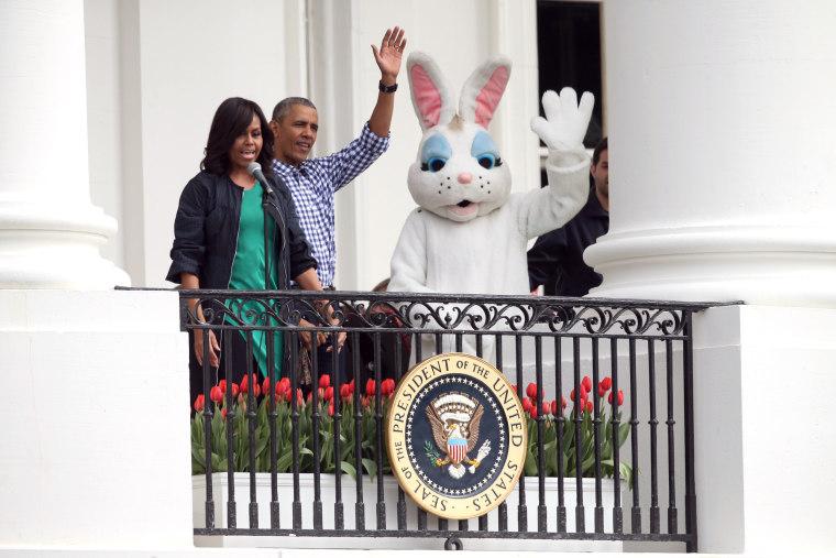 Image: Barack Obama, Michelle Obama, Easter Bunny