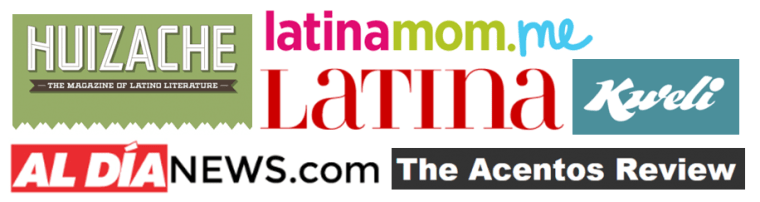 Screen shots of the logos of Huizache, Latinamom.me, Latina Magazine, Kweli, The Acentos Review and AL DÍA News.