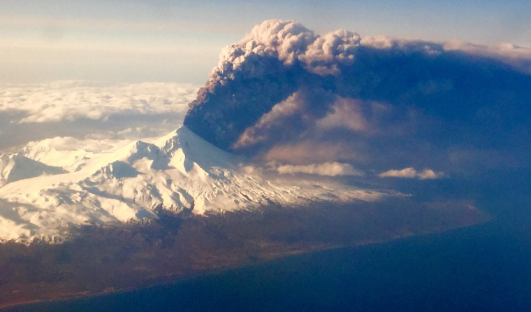 Image: Pavlof Volcano, one of Alaska's most active volcanoes, erupts
