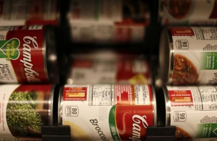 Cans of Campbell's brand soups are seen at the Safeway store in Wheaton Maryland
