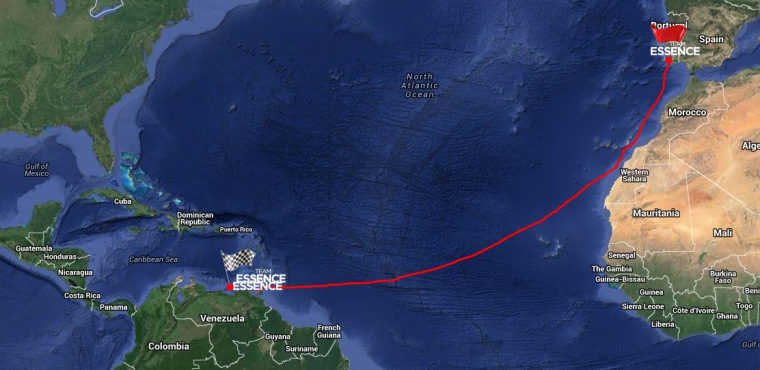 Image: Map showing Team Essence's route from Portugal to Venezuela