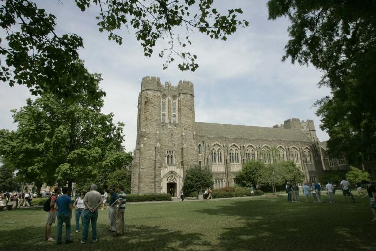 Visitors explore the Duke University campus during Blue Devil Days Monday, April 24, 2006 in Durham, N.C.