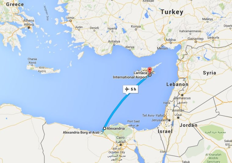 Image: Map showing Egypt and Cyprus
