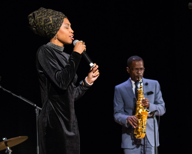 Singer Jazzmeia Horn and saxophonist Mark Gross perform during the ceremony.