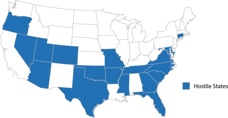 "Here are the states the study deems ""Hostile."""
