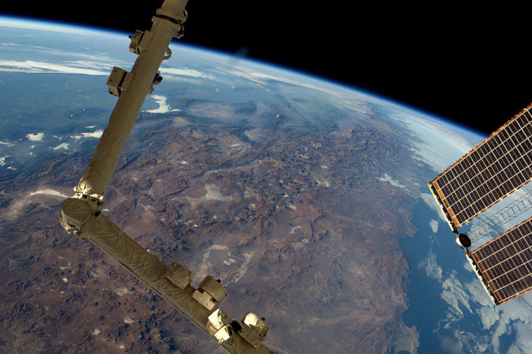 """U.S. astronaut Jeff Williams tweeted this view of the Andes, looking south, from the International Space Station on March 28.  \""""My best view of this yet!\"""" he said."""