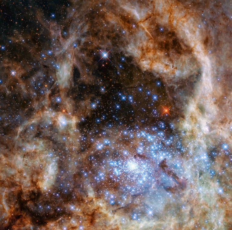 Image:  The central region of the Tarantula Nebula in the Large Magellanic Cloud is seen in an undated image from the Hubble Space Telescope