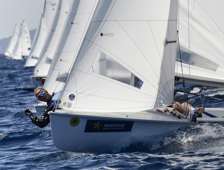 Image: Sailors compete in the women's 470 class race at the 47th Princesa Sofia Trophy