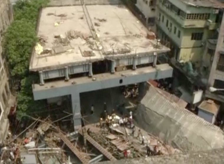 Image: A view of the collapsed overpass