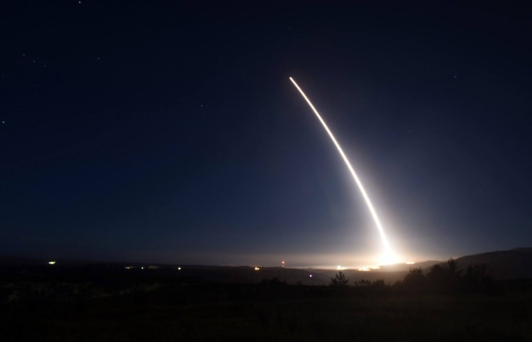 An unarmed Minuteman III intercontinental ballistic missile launches during an operational test at Vandenberg Air Force Base, California, on Feb. 20, 2016.