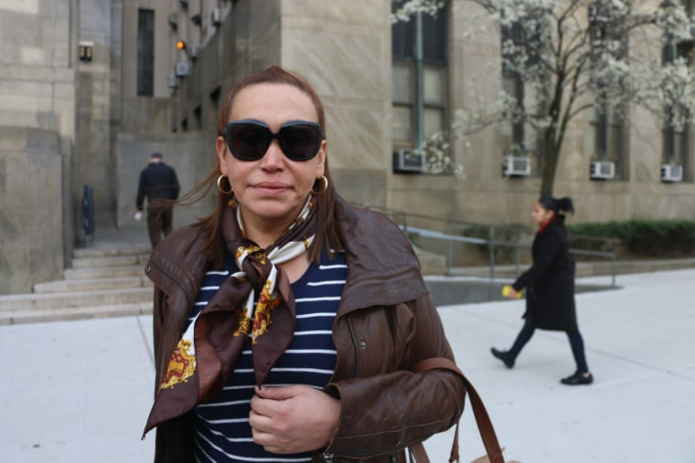 Cecilia Gentili, a Latina transgender woman, stood outside the Criminal Courts Building before the hearing on Thursday to show her support for Islan Nettles, a black transgender woman killed in 2013.