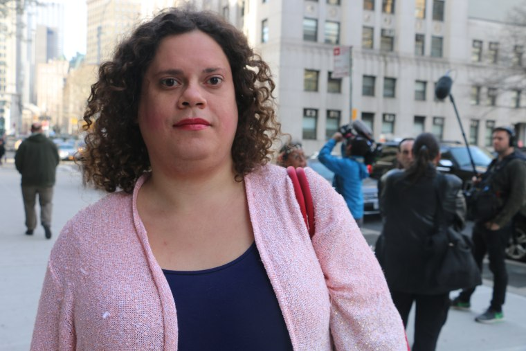 Jennifer Louise Lopez, a Latina transgender woman and executive director of Everything Transgender in New York City, helped to organize a rally prior to the hearing on Thursday.