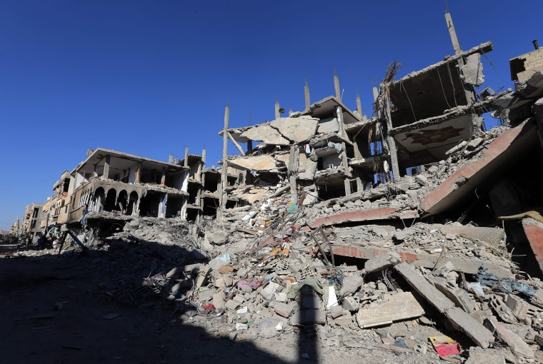 Image: Destroyed buildings line a destroyed neighborhood in Palmyra