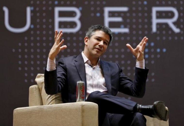 File photo of Uber CEO Kalanick speaking to students during an interaction at IIT campus in Mumbai