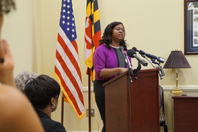 Delegate Angela Angel speaks at the domestic violence hearing at the Maryland General Assembly on March 9.