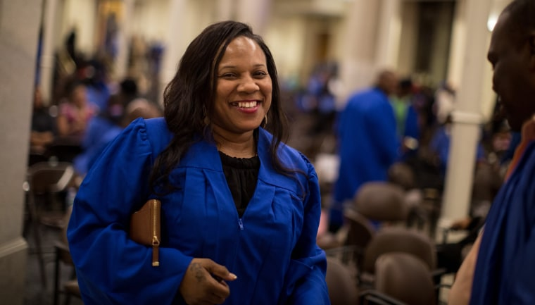 Image: Graduate Delores Bowers, 47, of Brooklyn, after graduation from the year-long Ready, Willing & Able transitional work program