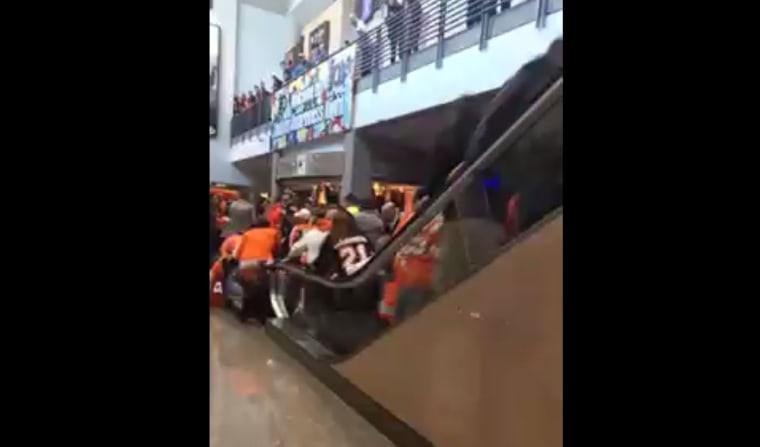 An escalator malfunctions after Philadelphia Flyers game at Wells Fargo Center.