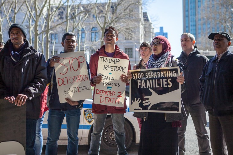DRUM members protesting outside Hillary Clinton's Brooklyn campaign headquarters on March 29.