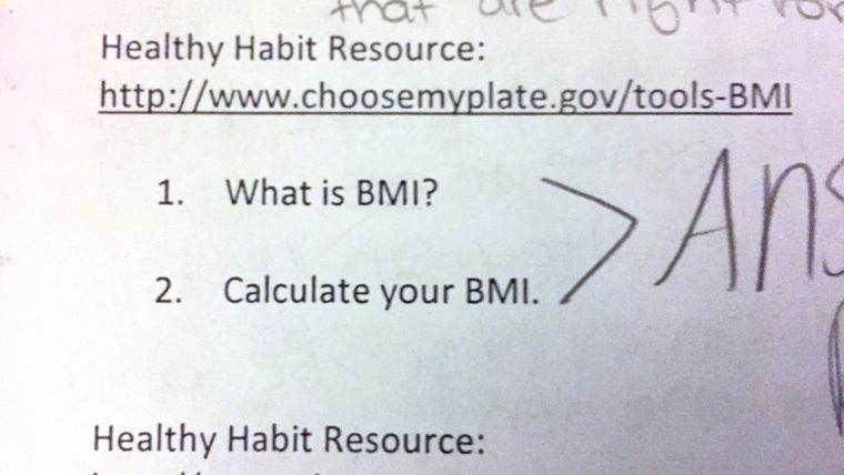 8th grade girl  refused to calculate her BMI, as required for a school assignment