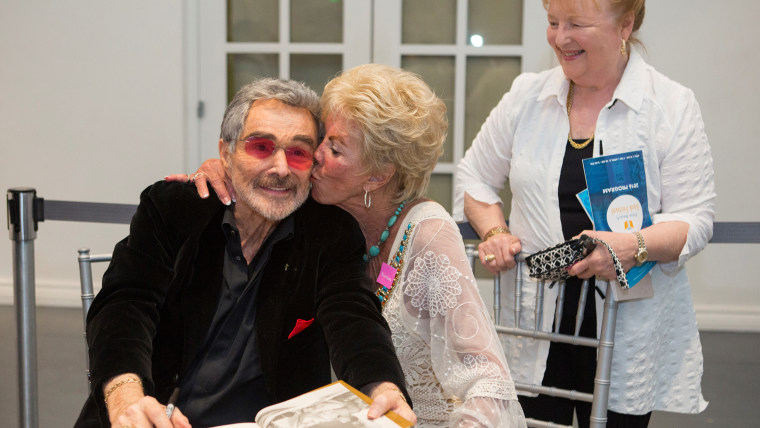 Burt Reynolds and Ann Lawlor Scurry, who were high-school sweethearts, reunite at the Palm Beach Book Festival on April 2, 2016.