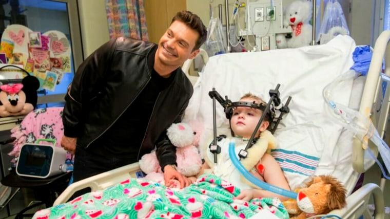 Seacrest with a patient at Vanderbilt Children's Hospital.